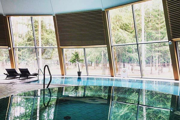 Просторный бассейн, джакузи, бани и другие водные удовольствия